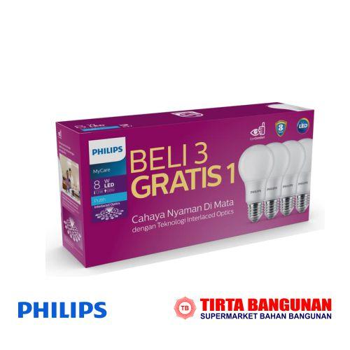 Philips Mycare Ledbulb 8W  E27 6500K Putih (PAKET)