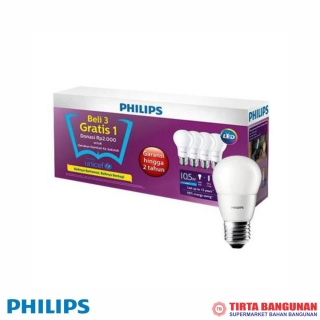 Philips LED Bulb 10.5W E27 6500K 4Pcs (Paket)
