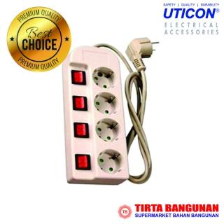 Uticon Stop Kontak 4 Lubang + Saklar