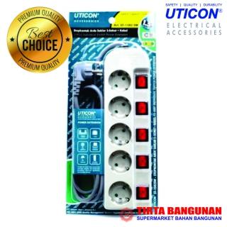 Uticon Stop Kontak 5 Lubang + Saklar
