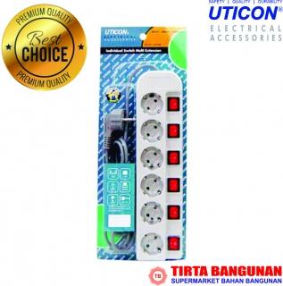 Uticon Stop Kontak 6 Lubang + Saklar